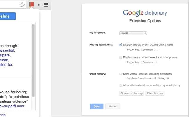 Chrome Extensions - Google Dictionary