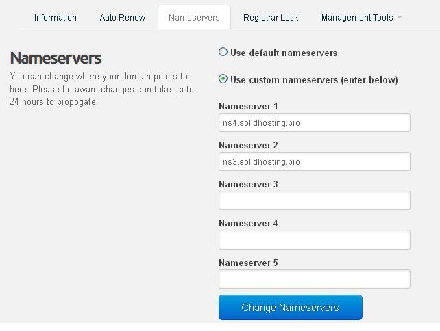 Update Name Servers