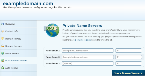 nameservers, private nameservers